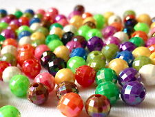 200  MULTI COLOUR ROUND PLASTIC FACET JEWELLRY MAKING BEADS CRAFTS 6mm  AB0093