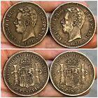 Lot of 2 SPAIN 1871 SDM & DEM 5 Pesetas Silver Coins AMADEO I REY KM# 666
