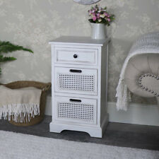 Antique white 3 drawer bedside chest storage unit vintage chic bedroom furniture