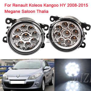 Pair LED Fog Lights For Renault Koleos Kangoo HY 2008-2015 Megane Saloon Thalia