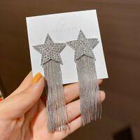 Fashion Star Crystal Silver Long Tassel Stud Earrings Women Drop Dangle Jewelry