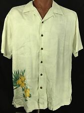 Caribbean Joe Men's Hawaiian Shirt Hibiscus Floral 100% Rayon Sz XL Short Sleeve