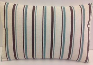 OBLONG CUSHION COVERS BRAND NEW SINGLE STRIPED BEIGE TEAL OATMEAL BROWN  STRIPES