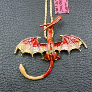 Betsey Johnson Red Enamel Crystal Pterosau Dragon Pendant Necklace Chain/Brooch