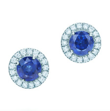 TIFFANY & CO. Soleste Platinum Sapphire and Diamond Earring Retail $7400
