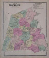 Original 1867 Hand Colored Map NEWTOWN Fairfield County Connecticut Sandy Hook