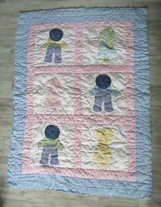 """Vintage Sun Bonnet Sue & Sam Baby Boy/Girl Crib Quilt Blanket 47""""x35"""""""