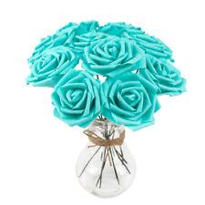 10 Head/Bunch 8cm Artificial PE Rose Flower Wedding Bride Bouquet DIY Home Decor