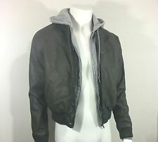 Obey Women Olive Green Leather Jacket Size M