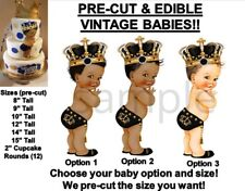 PRE-CUT Black and Gold Little Prince Studded Crown Baby EDIBLE Cake Topper Image
