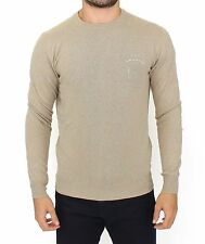 NEW $480 ERMANNO SCERVINO Beige Wool Cashmere Crewneck Pullover Sweater IT48 / M