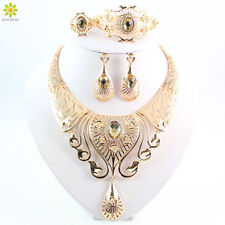 Gold Plated Austrian Crystal Necklace Bracelet Ring Earrings Jewelry Set Gifts