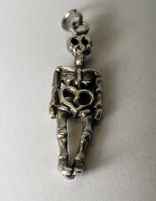 Genuine 925 Sterling Silver 3D Skeleton Bones Dangle Cool Halloween Pendant