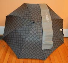 NWT FERRE Milano Dark Gray Logo Pattern Auto Open Men's Rain Umbrella