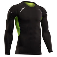 Mens Long Sleeve Compression Top Crew Neck Baselayers Thermal Under Shirt Top