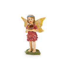Standing Fairy with Gazing Ball in Red Dress - Miniature Fairy Garden Dollhouse