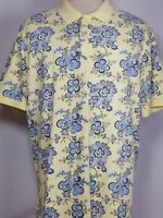 Daniel Cremieux Men's Large Casual Polo Shirt Yellow Blue Floral