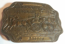 Vintage Boston Fire Department America's Hero's Brass Belt Buckle Bergamot Brass