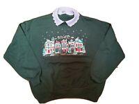 Vintage 80s Gopher Sport Puffy Paint Collared Sweatshirt Christmas Noel Sz.XL
