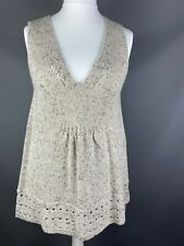 Joe Browns Sz 14 Wool Blend Oatmeal Sleeveless Jumper Tunic Natural V Neck Layer