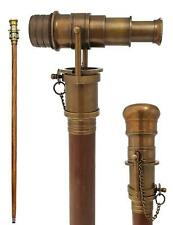 Brass Victorian Telescope Vintage Fordable Wooden Walking Stick Cane Gift