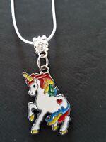 Unicorn necklace  stirling silver snake chain pretty cute