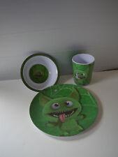 3-Teilig Monster Melamin Frühstücksset Teller,Becher,Schüssel - NEU - Motiv 2