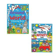 2 x CHILDRENS KIDS PUZZLE COLOURING ACTIVITY BOOKS  DRAWING AROUND THE WORLD