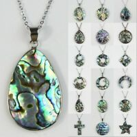 Natural Cross Paua Abalone Shell Flowers Silver Jewelry Charm Pendant Necklace