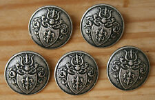 5x Metal Military Coat of Arms French Police 1800's Buttons 17mm Les Miserables