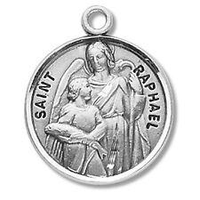 "MRT Sterling Silver 7/8"" Round Saint St Raphael Patron Medal"