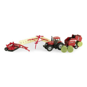 1:64 Case IH 4 Piece Haying Set w/ Baler Disc Mower Tractor Hay Rake ZFN44078