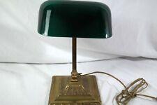 New listing Antique Emeralite Banker's Desk Lamp Green Cased Glass Shade Bronze Adjustable