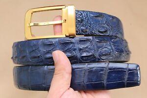 Blue Genuine Alligator Crocodile Leather SKIN MEN'S Belt UnJointed