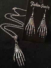 Skeleton Hand Necklace + Earrings Zombie Rockabilly Bone Steampunk Horror Voodoo
