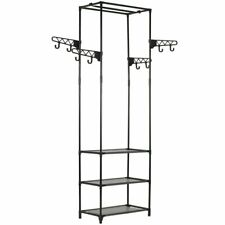 vidaXL Clothes Rack Steel and Non-woven Fabric 55x28.5x175cm Black Coat Stand
