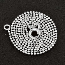 White Gold Filled Womens Mens Punk Silver Ball Beads Chain Necklace Fit Pendant