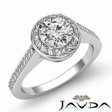 2ct Round Halo Pave Set Diamond Engagement Classic Ring GIA F Color VS2 Platinum