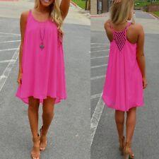 Plus Size 8-24 Women's Casual Sleeveless Evening Party Beach Short Mini Dress Rose 22