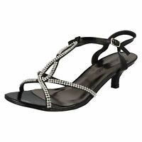 LADIES ANNE MICHELLE DIAMANTE ANKLE STRAP KITTEN HEEL EVENING SANDALS L3417