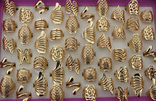 50pcs Wholesale Jewelry Lots Assorted Alloy Hollow Ring Gold Plated Rings EH276