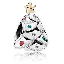 Authentic Pandora Silver 14k Gold Festive Christmas Tree Charm 791999CZRMX