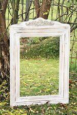 XXL SPIEGEL 90 cm Wandspiegel Shabby Stil Holz Ornament Wanddeko Creme/Braun