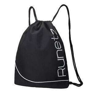 Runetz - Gym Sack Bag Drawstring Backpack Sport Bag for Men/Women - BLACK