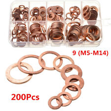 200PCS Car Engine Oil Drain Plug Copper Crush Washer Seal O-Ring Gasket 9 Sizes