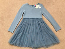 GIRLS MINI BODEN BLUE SPARKLY GLITTER SPOT PARTY DRESS - AGE 9-10 YRS - NEW