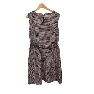 TU Women's Size 14 Multi-colour Sleeveless V-Neck Warm Sheath Dress with Belt