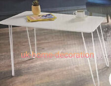 White Coffee Table With White Hairpin Leg Living Room Furniture Rectangle Table