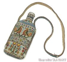 AMAZING antique Bulgarian handmade beaded bottle early 1900's rare folk art POW?