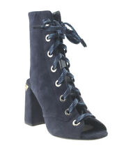 Prada 1TK108 Blue Suede Ankle Open-toe Lace-up Boots, Size 36